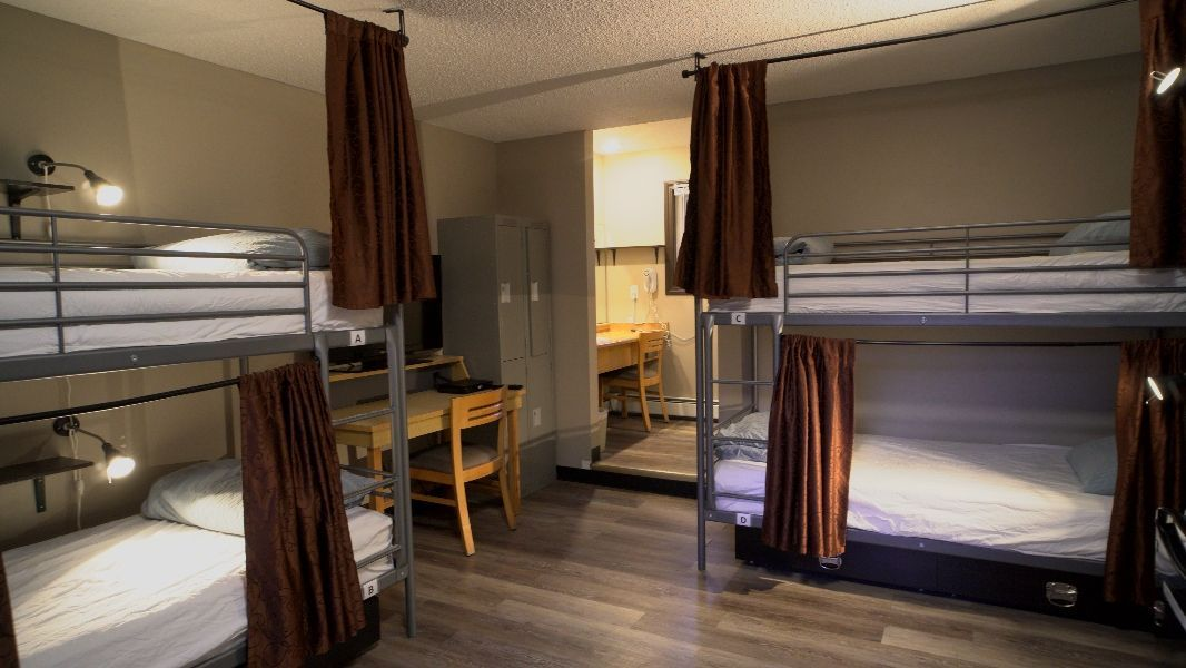 4 bed dorm room at Banff International Hostel